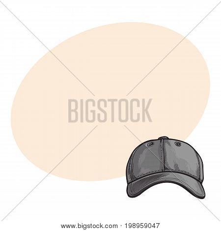 Clean, unlabelled grey colored textile baseball cap, sketch style vector illustration with space for text. Realistic isolated hand drawing of grey baseball cap, front view