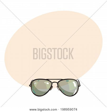 Hand drawn aviator sunglasses in metal frame with green lenses, sketch style vector illustration with space for text. Realistic isolated hand drawing of green aviator sunglasses, front view