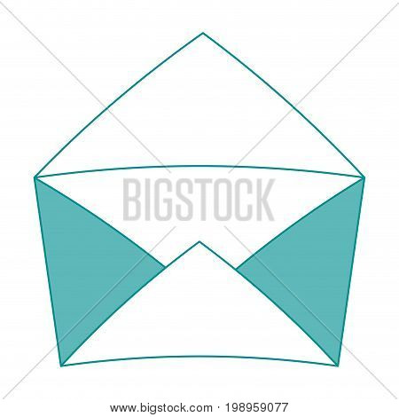 Flat line envelope with hint of color over white background vector illustration
