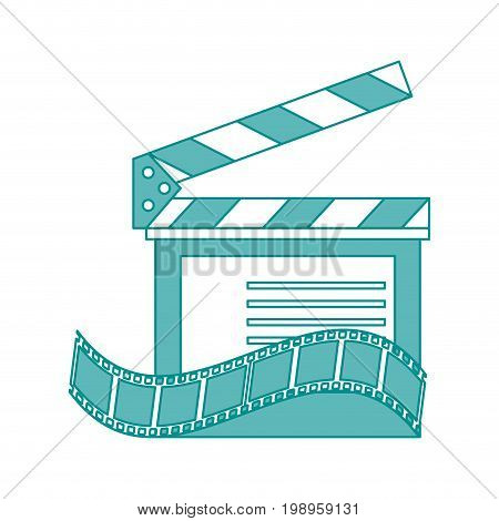 Flat line clapperboard and movie film with hint of color over white background vector illustration