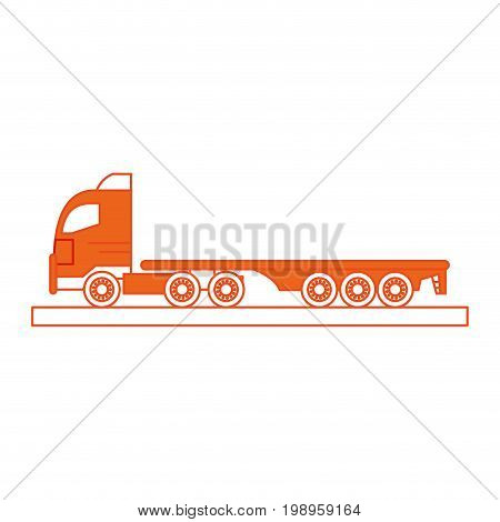 Flat line truck with hint of color over white background vector illustration