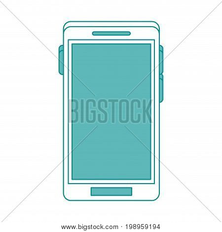 Flat line smartphone with hint of color over white background vector illustration