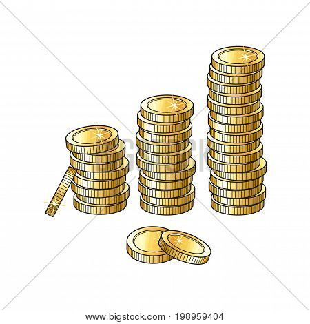 Vector golden coins stacks, columns isolated on a white background. Cartoon golden money pillars illustration . Profit, wealth , success concept. Sign of banking, finance business. Winning symbol