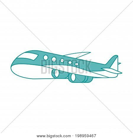 Flat line airplane with hint of color over white background vector illustration