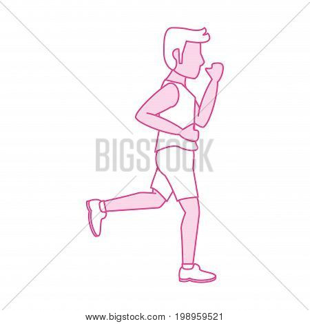 Flat line running man with hint of color over white background vector illustration
