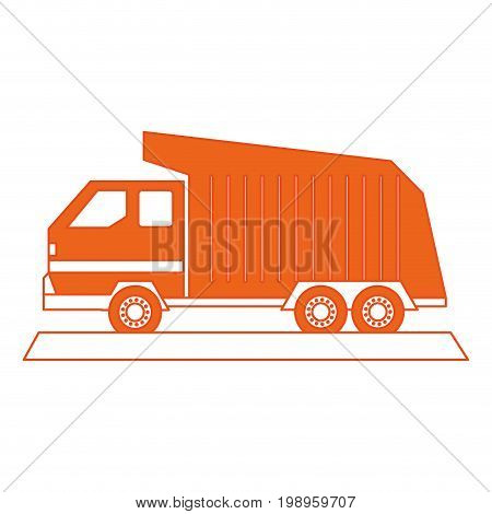 Flat line garbage truck with hint of color over white background vector illustration