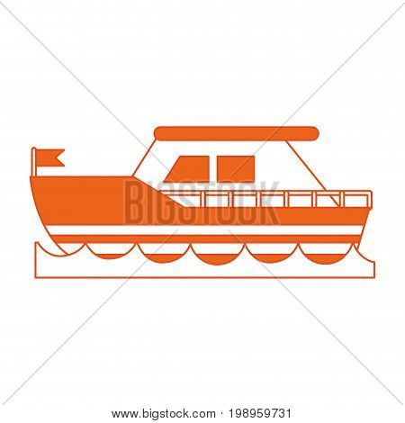 Flat line ship with hint of color over white background vector illustration
