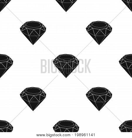 Diamond icon in black design isolated on white background. Precious minerals and jeweler symbol stock vector illustration.