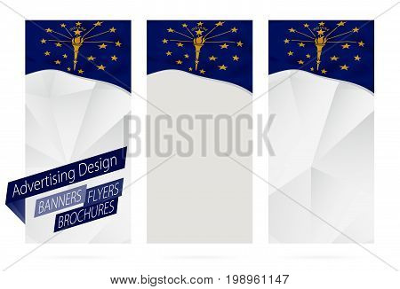 Design Of Banners, Flyers, Brochures With Indiana State Flag.