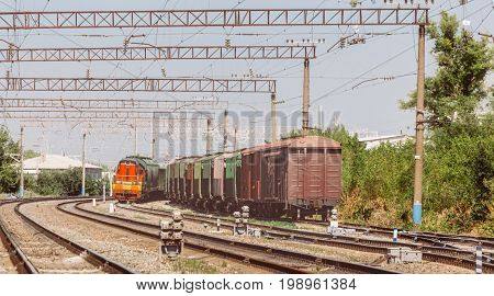 Railway and freight trains and wagons, commercial transportation concept