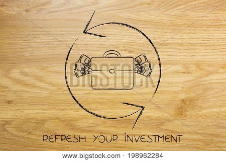 Refresh Symbol With Bag Of Cash, Reload Your Investments