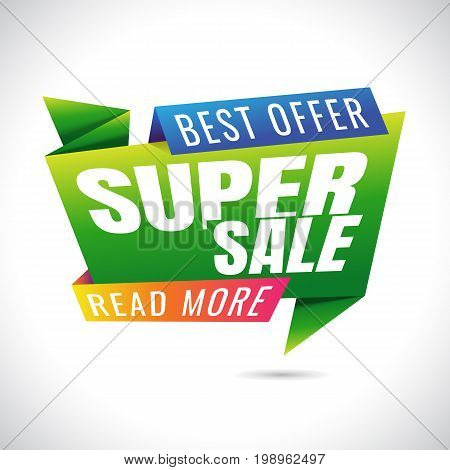 best offer read more super Sale Banner Design on white background. sale. Discount . Vector
