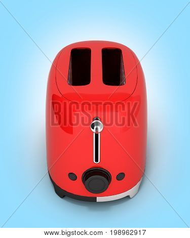 Red Retro Toaster On Blue Gradient Background 3D