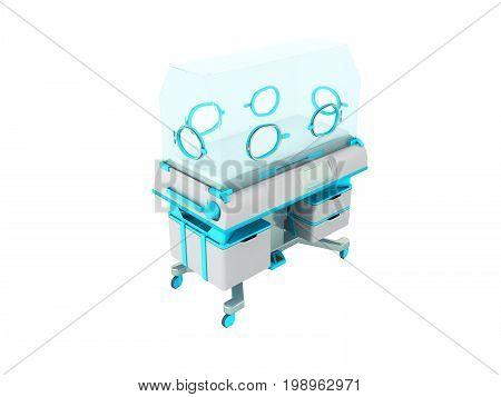 Incubator For Newborns Light Blue 3D Rendering On White Background No Shadow
