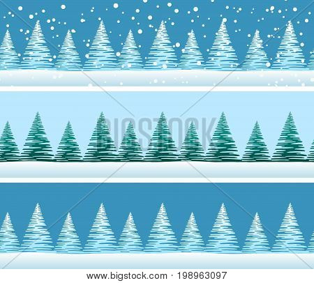 Seamless Background with Green and Blue Christmas Fir Trees and White Snow in Sky, Winter Holiday Tile Pattern. Vector