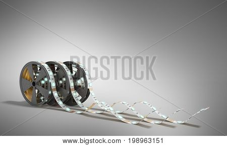 Diode Strip Led Lights Tape In Holder Close-up 3D Render On Grey