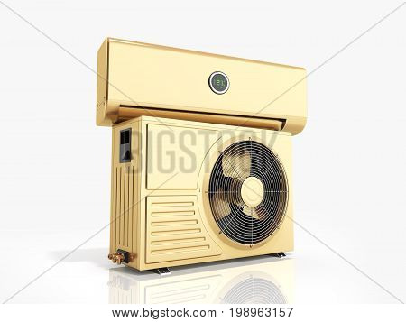 Gold Air Conditioning Unit 3D Render On White Background