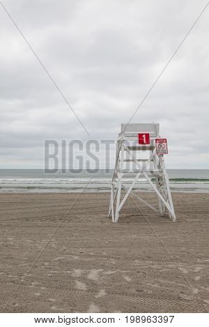 Watchtower on the empty beach in Middletown Newport County Rhode Island USA