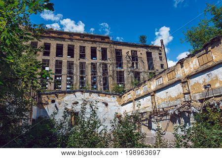 Demolished ruined abandoned factory buildings in Efremov, Russia