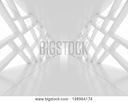 Futuristic background with white tunnel 3D render