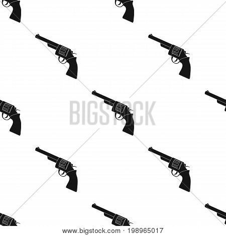 Revolver icon in black design isolated on white background. Rodeo symbol stock vector illustration.