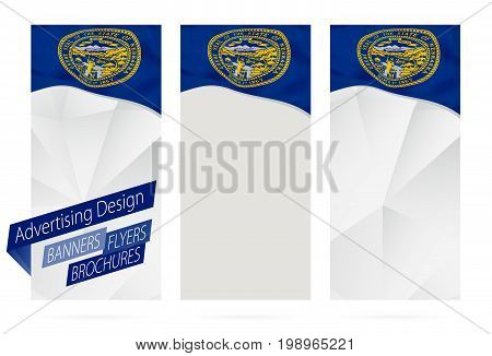 Design Of Banners, Flyers, Brochures With Nebraska State Flag.