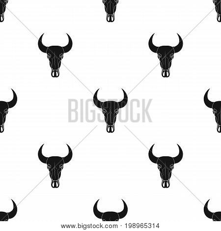 Bull skull icon in black design isolated on white background. Rodeo symbol stock vector illustration.