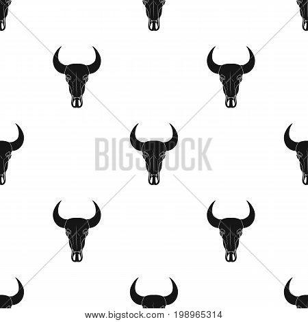 Bull skull icon in black design isolated on white background. Rodeo symbol stock vector illustration.