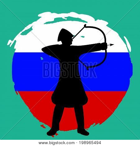 Archer Warrior Silhouette On Russia Flag Background.