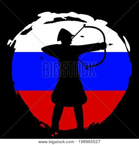 Archer Warrior Silhouette On Russia Flag And Black Background.