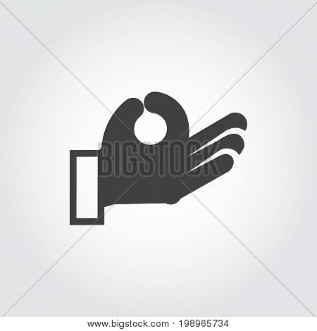 Human hand symbol black icon in flat design. Sign language gestures. Vector illustration on gray background