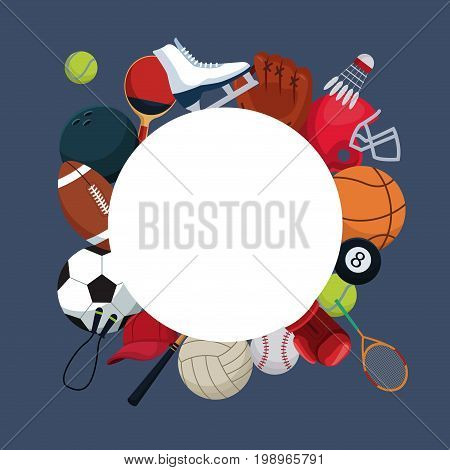 color background with circular frame and icons elements sport around vector illustration