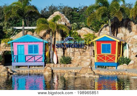 Gold Coast, Australia - July 11, 2017: dolphin lagoon at Sea World amusement park at Main Beach on the Gold Coast, a popular tourist destination.