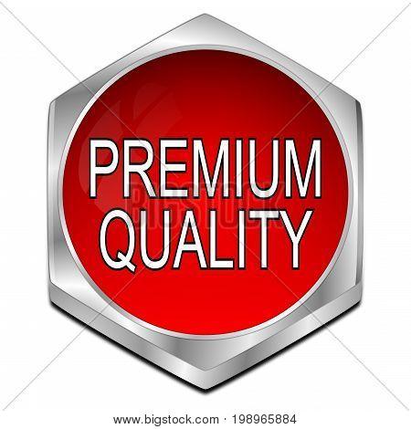 red Premium Quality button - 3D illustration