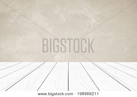 Empty perspective white wood over brown cement wall background product display montage interior design background