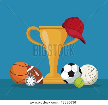 color background with hands holding a golden trophy cup and cap and elements sport vector illustration