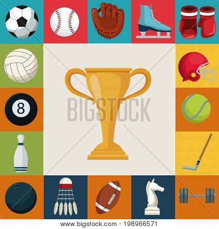 colorful square background with set collection elements sport with cup trophy in center vector illustration
