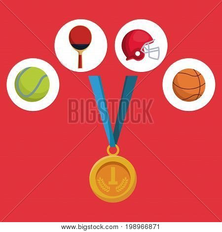 color background with golden medal first place and icons of elements sports vector illustration