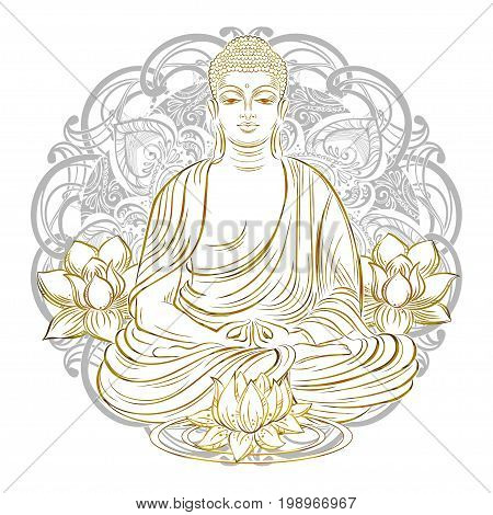 Buddha sitting in the lotus position with an illuminated face on the background of the mandala