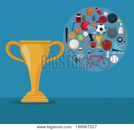 color background with golden cup trophy and icons of elements sports in circular frame vector illustration