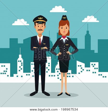 city landscape background with full body couple pilot and stewardess vector illustration