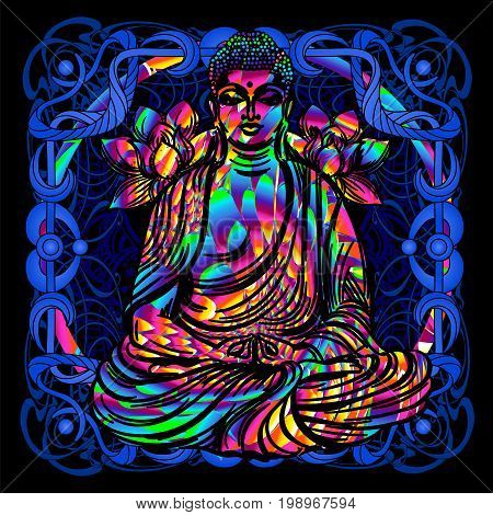 The Lord Buddha is a psychedelic painting in a retro style. Popular vintage graphics postcard and posters from the 1960s to the 1980s. Art Nouveau and Hippie art. Goa trance art. Design of T-shirts poster