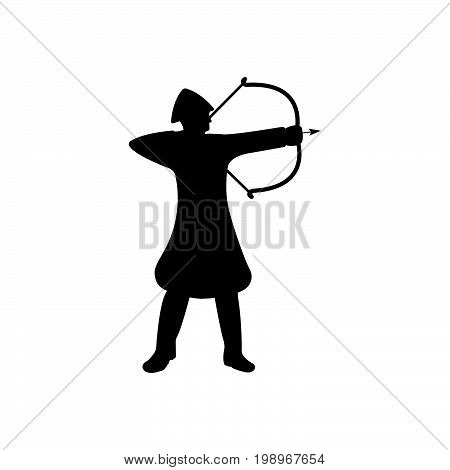 Archer Warrior Silhouette On White Background.