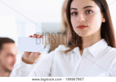 Female Hand In Suit Give Blank Calling Card To Visitor
