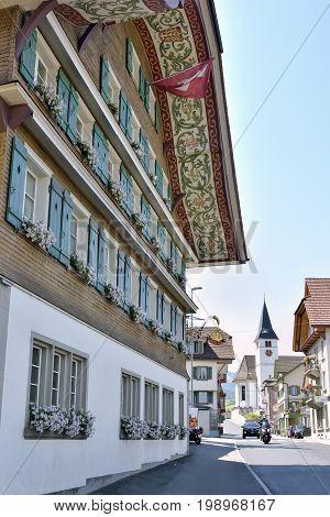 Hotel Drei Könige in Entlebuch Lucerna Switzerland - 22 July 2017: facade of the Hotel Drei Könige building.