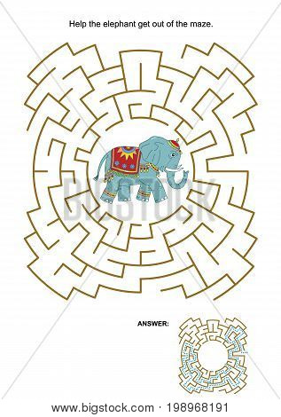 Maze game or activity page: Help the elephant get out of the maze. Answer included.