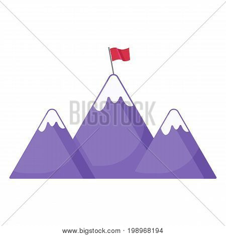Mountains with flag icon Flat design of Mountain range with flag on a peak success symbol travel object isolated on the white background leadership vector illustration