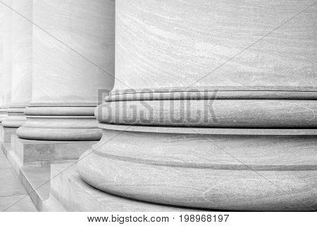 Black and White Photograph of Columns of the National Gallery of Art in Washington DC USA