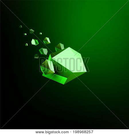 Falling beauty stone, Emerald, space debris, green collapsing asteroid, vector 3D illustration. Isolated unusual logo template.