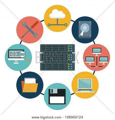 white background with rack server and icons elements data center around vector illustration
